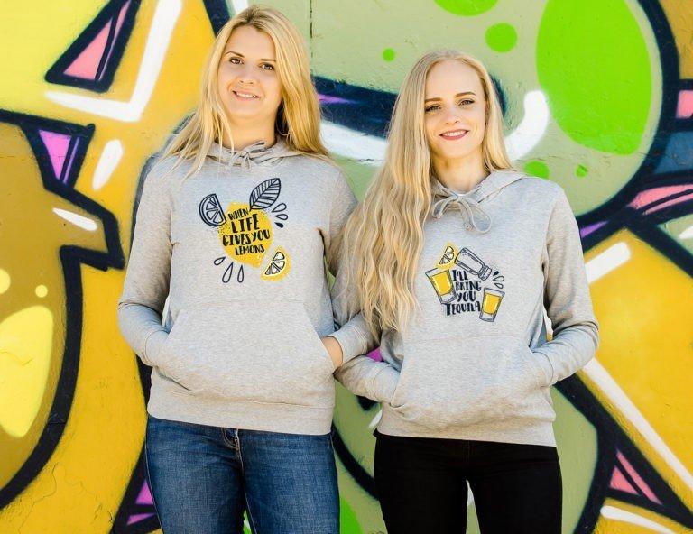 Grey hooded women sweatshirts Tequila and lemon