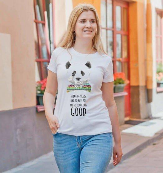 White shorts sleeve women t shirts with prints Panda