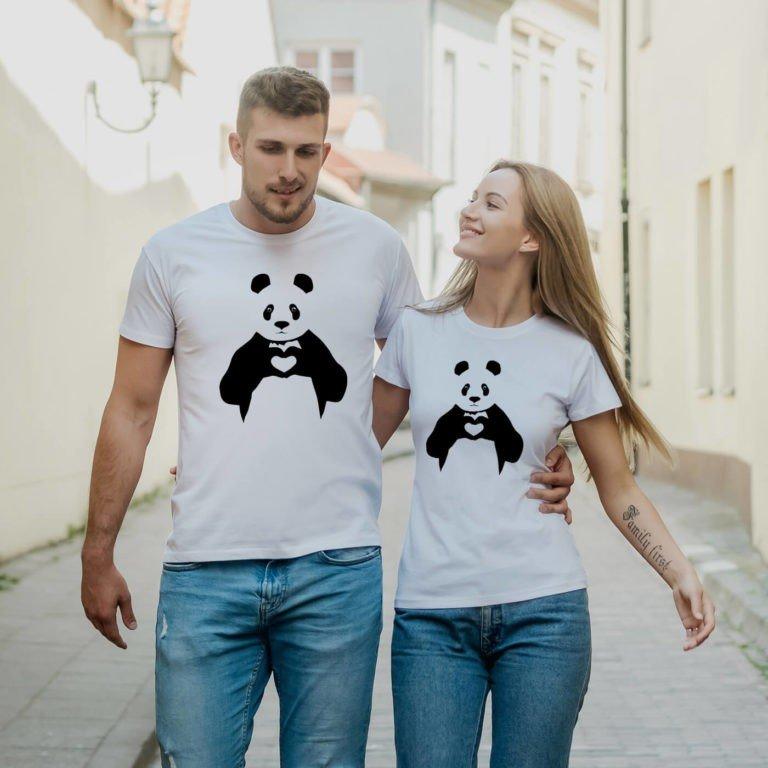 White short sleeve couple graphic t shirts Panda