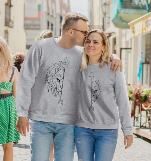 couple sweatshirts lions