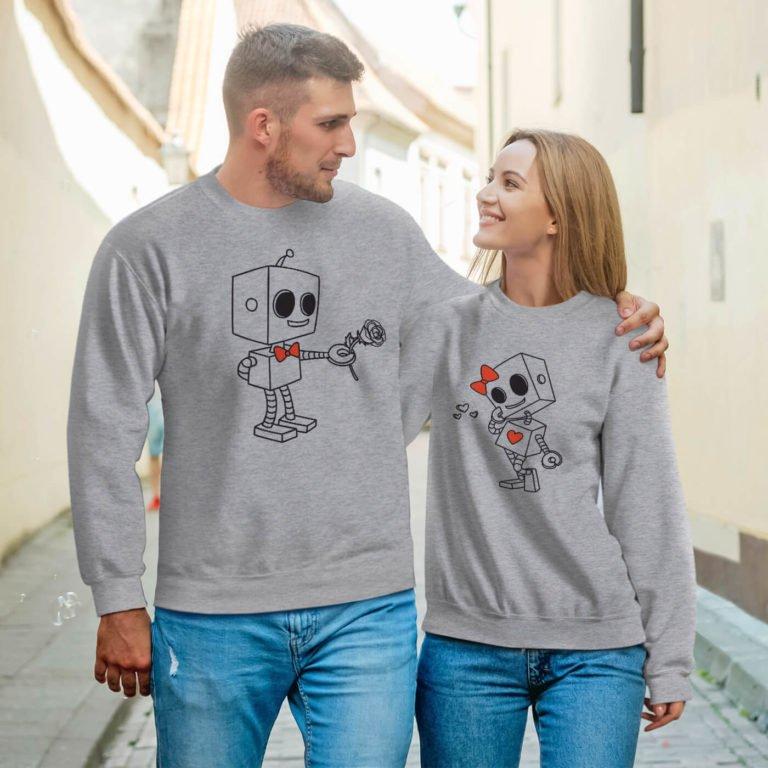 Couple sweatshirts robots love