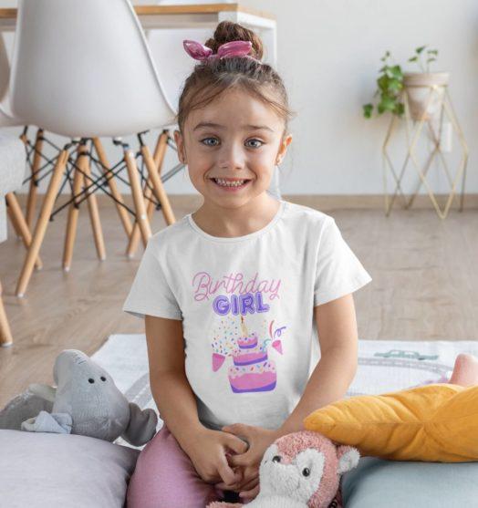 Kids graphic tees birthday girl
