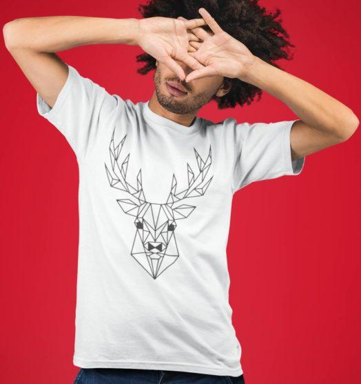 Men graphic tees Geometry deer