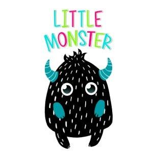 Kids graphic tees black white monster