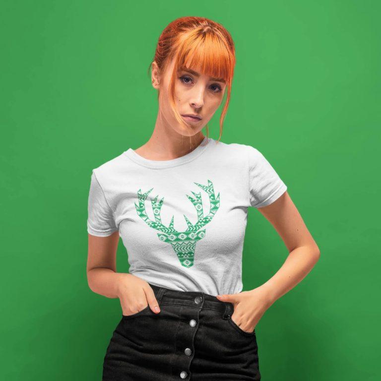 Short sleeve graphic women t shirt for christmas Deer in green
