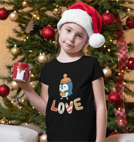 Short sleeve kids Christmas t shirts Christmas penguin