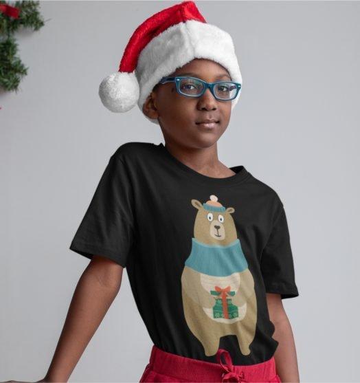 Short sleeve kids Christmas t shirts Christmas bear