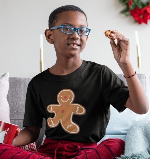 Short sleeve kids Christmas t shirts  Cookie boy