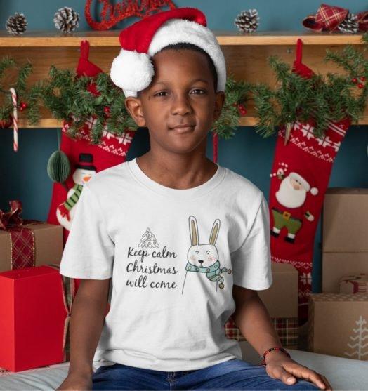 Short sleeve kids Christmas t shirts  Christmas will come