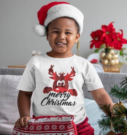 White short sleeve kids t shirts Deer Merry Xmas